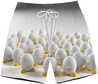 XIELH Shorts Summer 3D Printed Beach Pants Home Plus Size Loose Pants 3D Duck Egg Printed Beach Shorts