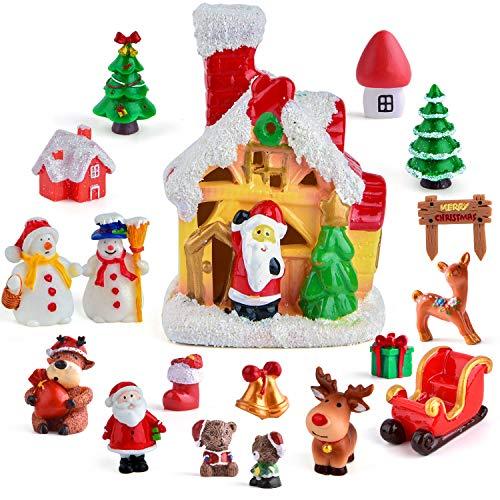 Zealor Christmas Fairy House Miniature Ornaments Kit DIY Fairy Garden Dollhouse Christmas Tree Snowman Castle Mini Ornaments for Christmas Party Decorations (Size 3)