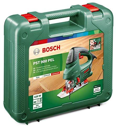 Bosch DIY Stichsäge PST 900 PEL, 1 Sägeblatt T 144 D, Spanreißschutz, CutControl, Transparenter Abdeckschutz, Sägeblattdepot, Koffer (620 W, Schnittiefe 90 mm Holz, 8 mm Stahl) - 2