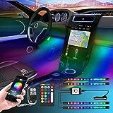 Interior Car Lights, Car LED Strip Light Upgraded Waterproof4PCS 48 LEDs APP Controller Lighting Kits, DIY Color LED Lighting Kits Sync to Music-Super Length Wires for Various Car
