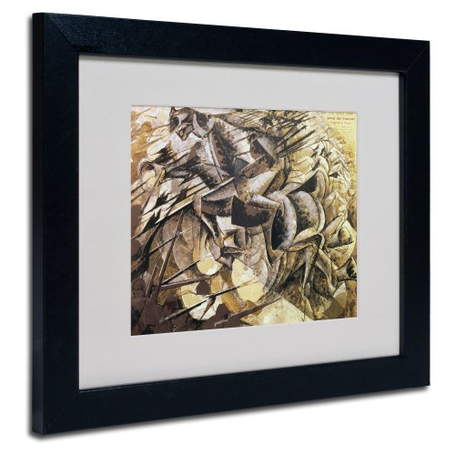 The Charge of The Lancers 1915 Artwork by Umberto Boccioni, Black Frame, 11 by 14-Inch
