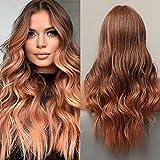 HAIRCUBE Pelucas onduladas largas y rizadas de color rojo pardusco Parte media Peluca ondulada sintética de aspecto natural para mujeres
