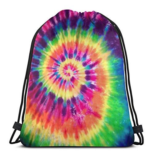 Xinmin Bolsa de Deporte Mochila con cordón Gympack String- Colorful Tie Dye Pattern Hombres y Mujeres viajan Mochilas de Compras de Fitness