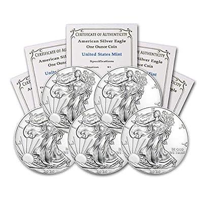 2020 Lot of (5) 1 oz Silver American Eagle BU In Coin Flip With CoinFolio COA Brilliant Uncirculated