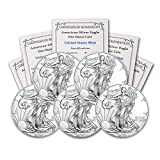 2020 Lot of (5) 1 oz Silver American Eagle BU In Coin Flip With CoinFolio COA Brilliant Uncirculated