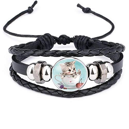 Joyería popular pulsera de piel de vaca tejida a mano con piedras preciosas de gato de dibujos animados lindo-12011905