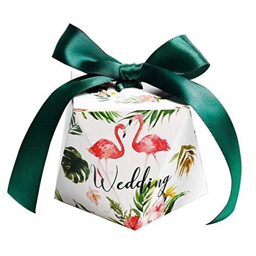 BESTOYARD 50 Stücke Hochzeit Bevorzugung Boxen Süßigkeiten Boxen Flamingo Geschenktüten mit Band Hochzeit Braut Dusche liefert (L)