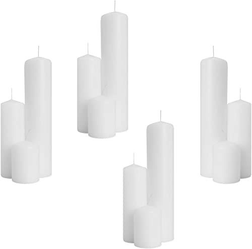 2021 Royal Imports 2-Inch Pillar Candles Set for Wedding, Birthday, 2021 Holiday & Home wholesale Decoration, 2x3, 2x6, 2x9, White Wax - 4 Sets (12 Candles) online