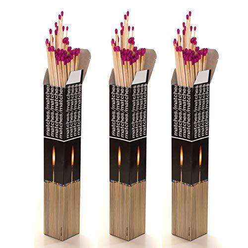 DbKW XXL Streichhölzer 28 cm, 3 x 90 Stück = 270 Stück mit GRATIS Wandhalter, Grillanzünder, Anzündhölzer für Grill, Kamin, Kerzen, Windlichter, Pfeifen