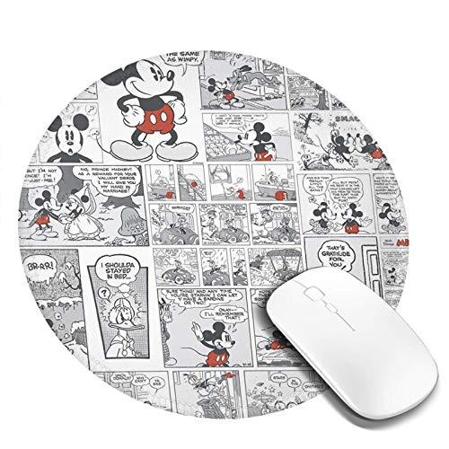 Alfombrilla De Ratón Redonda De Dibujos Animados, Alfombrilla De Ratón con Base De Goma Antideslizante para Ordenador Y Portátil, Cómic de cuadrícula de Mickey Mouse de Disney