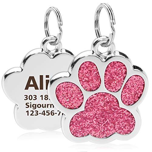 TagME Personalisierter Hund & Katze Marke/Hundemarke aus Edelstahl mit eingraviertem Namen und Telefonnummer/Prickelnde Katzenmarke in Pfotenform/Klein/Rosa
