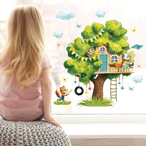 Wandtattoo Loft Fensterbild Frühling Baum mit Tieren wiederverwendbar Fensteraufkleber Kinderzimmer / 1. Baumhaus Tierfreunde (13042) / 3. DIN A2 Bogen