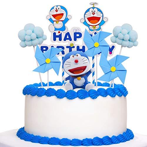 Doraemon Cake Topper - YUESEN 8 pcs adornos para tartas para niños Baby Shower Fiesta de cumpleaños Pastel Decoración Suministros