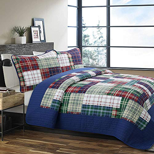 Cozy Line Home Fashions Nate Patchwork Navy/Blue/Green/Red Plaid Cotton Quilt Bedding Set, Reversible Coverlet,Bedspread for Boy/Men/Him (England Patchwork, Queen - 3 Piece)