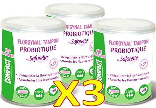 SaforelleFlorgynal- Lote de 3cajas pequeñas de tampones probióticos periódicos, con aplicador, súper, caja de 9