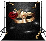 PHMOJEN Golden Mask Ribbons Red Rose Backdrop for Photography Masquerade Dress-up Party Background Banner Vinyl 5x7ft Photo Booth Props LXPH436