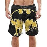 Batman Logo Mens Swim Trunks Summer Cool Shorts de Secado rápido Traje de baño con Bolsillos Laterales Forro de Malla XXL