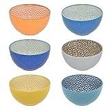 CREOFANT Set di 6 ciotole per cereali, ciotole colorate, ciotola per frutta, insalatiera, ciotola per insalata, ciotola per gelato, ciotole colorate in ceramica, ciotola in ceramica