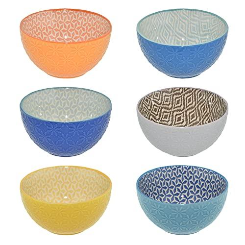 CREOFANT Set med 6 skålar – set med frukostskålar – färgglada skålar – fruktskål/soppskål / salladsskål / isskål / ramenskål – färgglada skålar – keramisk skål – keramisk skål – keramisk skål i stengods
