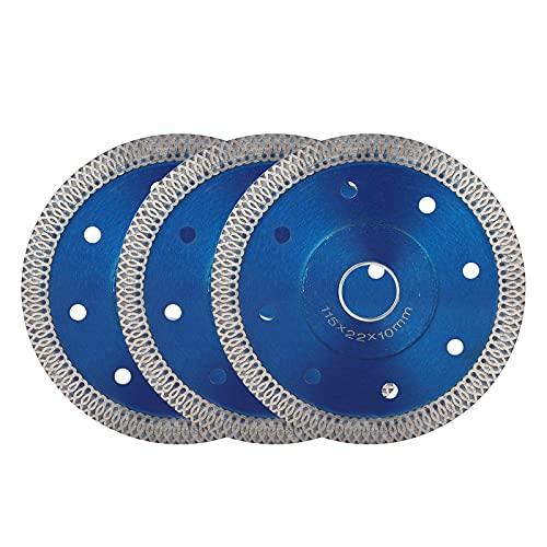 3 Piezas Disco de Diamante Hoja de Diamante Corte en Seco o en Húmedo 4.5' Súper Finas Para Cortar Baldosas de Porcelana, Granito, Mármol, Cerámica, Madera, Arenisca, Rocas