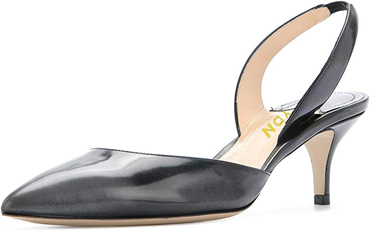 YDN Women's Formal Pointy Toe Low Heels Pumps Kitten Suede D'Orsay Sandals with Slingback
