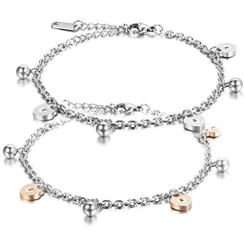 JewelryWe Schmuck 2pcs Damen Armband Fußkette, Liebe Herz Glöckchen Charm Fußkettchen, Edelstahl, Silber Rose Gold