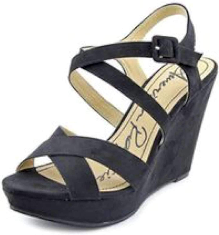 American Rag Womens Rachey Open Toe Ankle Strap Wedge Pumps, Black, Size 7.0