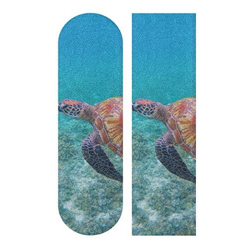JEOLVP 33.1x9.1inch Sport Outdoor Skateboard Griptape Flexible Schildkröte In Blue Ocean Print Wasserdichtes Skateboard Griptape für Tanzbrett Double Rocker Board Deck 1 Blatt
