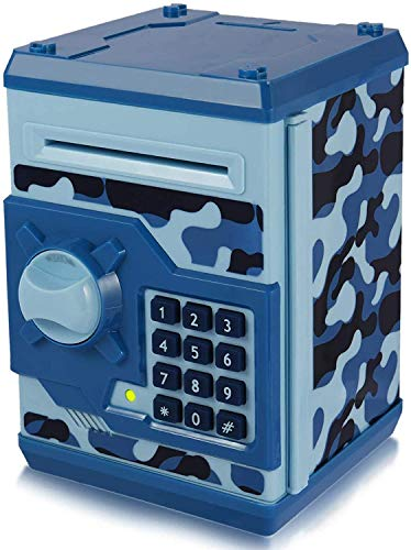 TOPBRY Piggy Bank for Kids ,Electronic Password Piggy Bank Kids Safe Bank Mini ATM Piggy Bank Toy for 3-14 Year Old Boys and Girls (Camouflage Blue)
