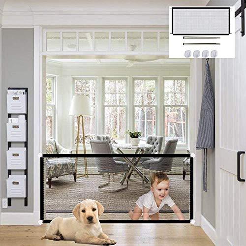 Hunde Türschutzgitter Treppenschutzgitter, Hundeschutzgitter, Sicherheitsgitter für Hunde, Hundetürschutz Hundebarrieren Treppentor für Haustiere, Baby Absperrgitter ausziehbar & faltbar,110 x 72 cm