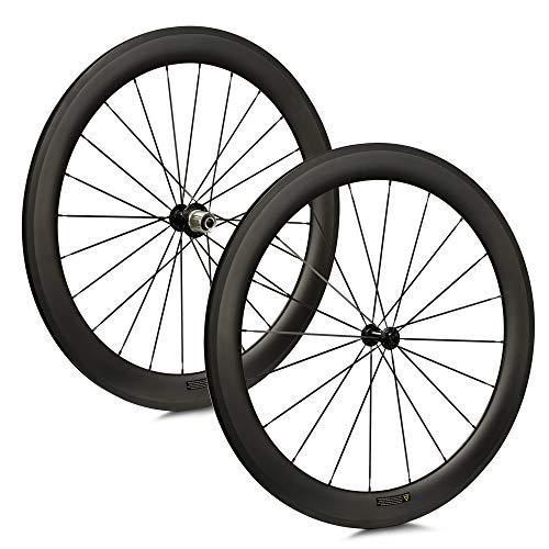 VCYCLE 50mm Fibra de Carbono Carretera Bicicleta Ruedas 700C Remachador 23mm Ancho Shimano o Sram 8/9/10/11 Velocidades