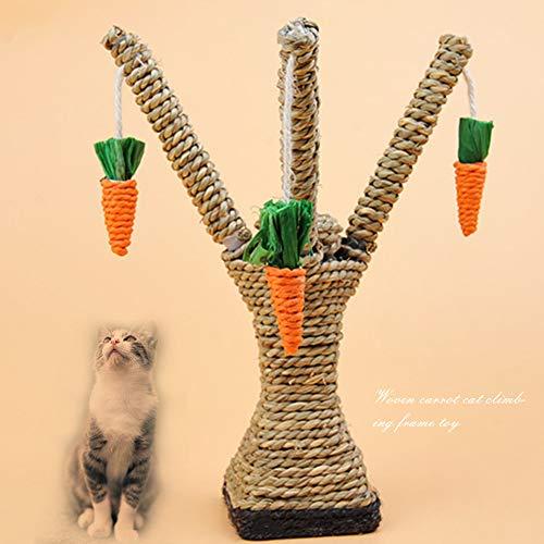 Alicer Klettergerüstpfosten, Kätzchenzahnpflegeturm Regale Kletterturm, Schaukel, Kratzbaum Karottenschaukel, für Kaninchen, Hamster, Hund, Katze