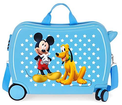 Disney Mickey & Pluto Stars Correpasillos Maleta de Cabina Infantil Azul 50x39x20 cm | Equipaje de Mano, Trolley de Viaje Ryanair, Easyjet | Maleta de Viaje Fin de Semana Rígida Divertida