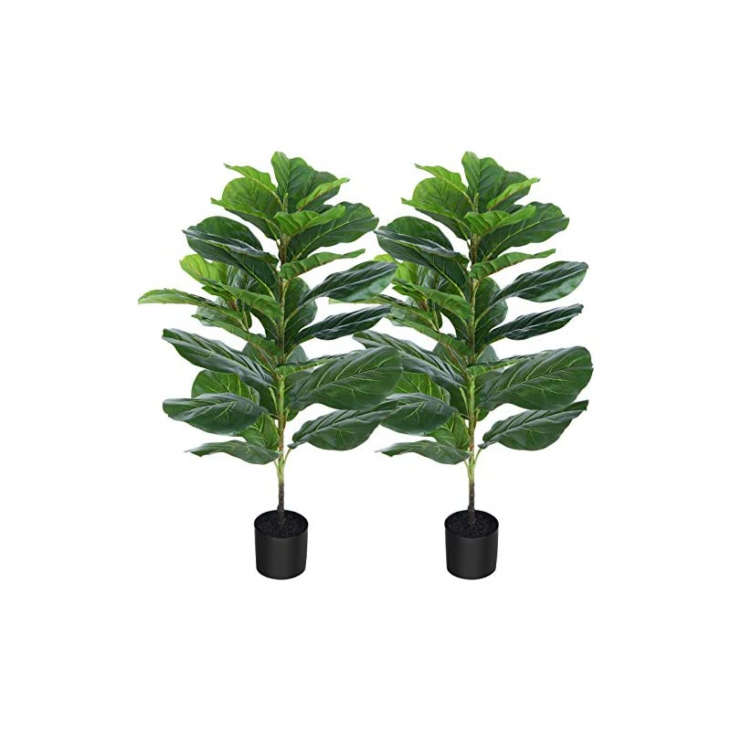 silk flower arrangements crosofmi artificial mini fiddle leaf fig tree 37 inch fake ficus lyrata plant with 32 leaves faux plants in pot for indoor house home office modern decoration perfect housewarming gift,2pack