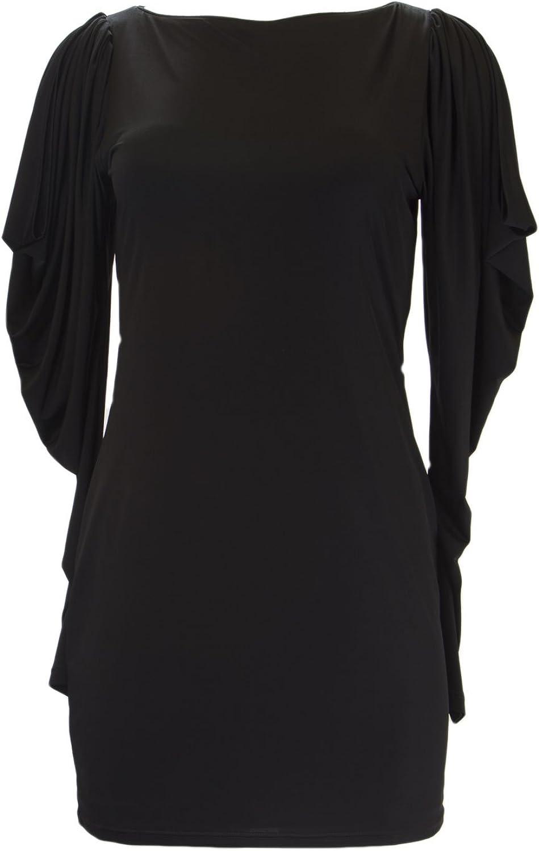 ANALILI Women's Black Long Cut Out Sleeve Sheath Dress 1070R31
