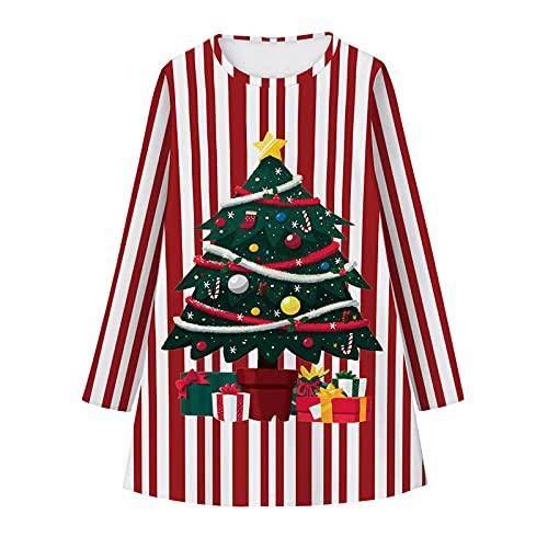 Vestido para niña con cuello redondo, manga larga, falda acampanada, Navidad, fiesta, princesa, vestido, a, Large