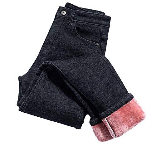 Neue Winter Dicke Fleece Jeans für Frauen Stretch Warm Skinny Denim Samt Bleistift Jeans Stretch Weibliche Hosen Jeans Gr. 57, rose