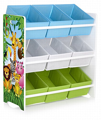 Leomark Scaffale per bambini con box portagiochi, contenitori per giocattoli, colore bianco mensola con nove ripiani non-woven, tema legno: GIUNGLA ANIMALI ZOO, dimensioni 63cm x 28cm x 63cm (LxPxA)