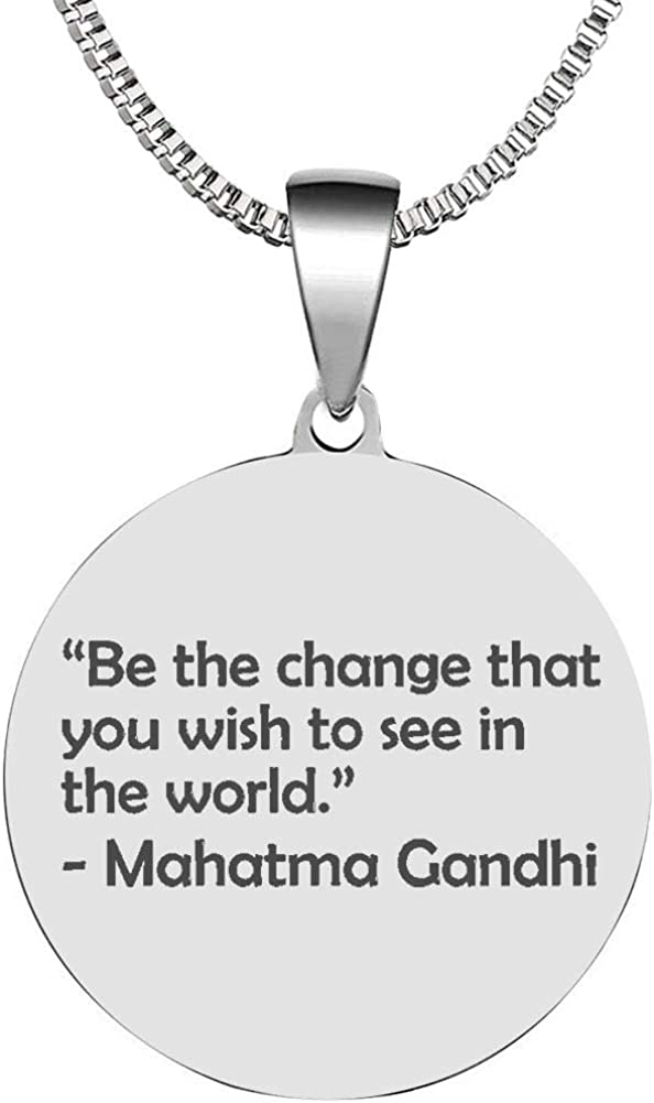 Graduation Charm Ghandi quote Stamped Pendant Be the Change you wish to see in the World Pendant Silver Plated Charm