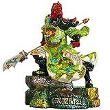 J.Mmiyi Estatua Guan Yu Guan Gong Feng Shui Decoración Cabeza Dragón Cuchillo De Pie Figura, Chino Santa De Guerra Guan Gong | Kwan Kung Escultura,Verde
