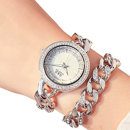 XQKXHZ Relojes de Pulsera Doble de Cuarzo Japonés Analógico para Mujer con Diamantes de Imitación, Cronometraje Preciso, para Festival Reunión Familiar, Silver