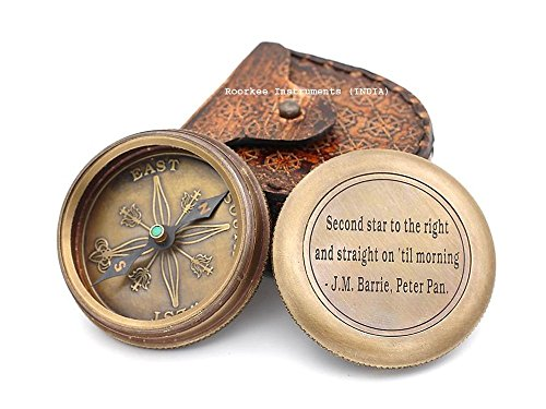 Roorkee Instruments (INDIA) Kompass aus massivem Messing, zweiter Stern auf der rechten Seite, mit Lederetui
