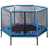 FTNJG Trampoline avec Enclosure Net Intérieur Trampoline pour Enfants Petit Trampoline de Gym Silencieux et sûr pour intérieur et extérieur Exercice d'entraînement Jouet,Bleu