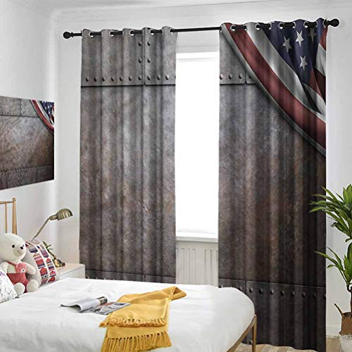 American Blackout Curtains USA Iron Armor Plaque 3 Pass Microfiber Noise Reducing Thermal Insulated Ring Top Blackout Window Curtains/Drapes for Kitchen, Bedroom and Living Room W54 x L96 Inch x2