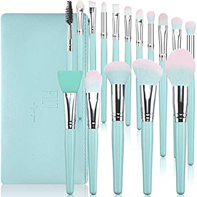Makeup Brushes 16Pcs Premium Synthetic Make up Brushes Set Blue Wooden Handle for Foundation Concealers Blush Eyeshadow Eyebrow Professional Make Up Brush Kits with Cosmetic Bag