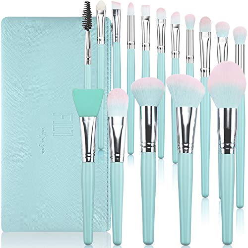 Make Up Pinsel Sets DUAIU 16 Stück Premium Synthetische Make-up Pinsel Blauer Holzgriff für Foundation Concealer Rouge Augenbrauen Professionelle Make-up Pinsel Kits mit Kosmetiktasche