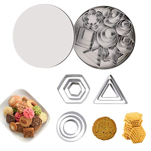 Mini Cookie Cutters Set, 24 Pcs Cookie Cutters, Labato Metal Geometric Shapes Cookie Cutters with Rectangle Square Heart Triangle Round Tiny Circle Baking Stainless Steel Metal Molds