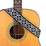 CLOUDMUSIC Guitar Strap Ethnic Vintage Classic Printed Pattern For Acoustic Electric Bass(Hexapetalous Pattern White)