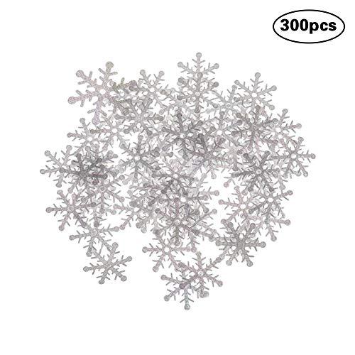 CDKJ 300 Piezas de Navidad Copo de Nieve Blanco Confeti asperja dispersiones de Navidad Copos de Nieve Artificial Decoración de la Mesa Decoración del árbol de Navidad - 1.5cm Diámetro
