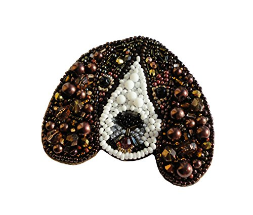 Women's Exclusive Handmade Puppy Beaded Brooche - Pin - Medalion Pendant from Ukraine Fits Bracelet, Jacket or Backpack Best Gift (Beagle)